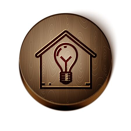 Brown line Smart house and light bulb icon isolated on white background. Wooden circle button. Vector Illustration