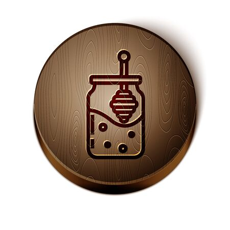 Brown line Jar of honey and honey dipper stick icon isolated on white background. Food bank. Sweet natural food symbol. Honey ladle. Wooden circle button. Vector Illustration