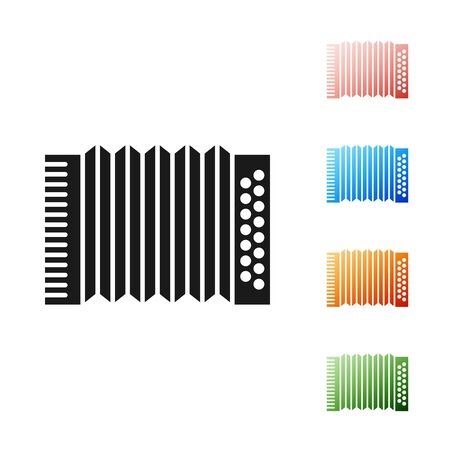Black Musical instrument accordion icon isolated on white background. Classical bayan, harmonic. Set icons colorful. Vector Illustration