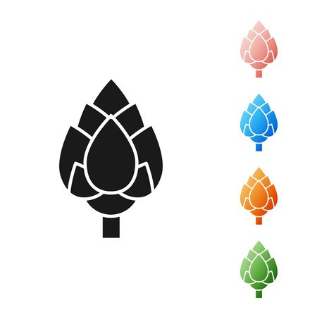 Black Hop icon isolated on white background. Set icons colorful. Vector Illustration