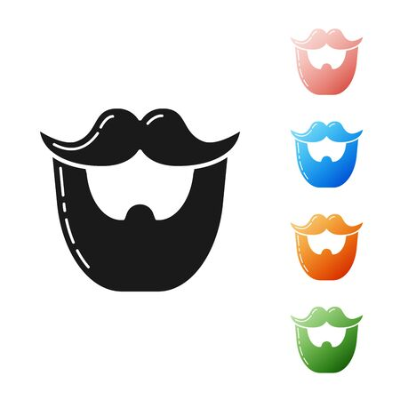 Black Mustache and beard icon isolated on white background. Barbershop symbol. Facial hair style. Set icons colorful. Vector Illustration 矢量图像
