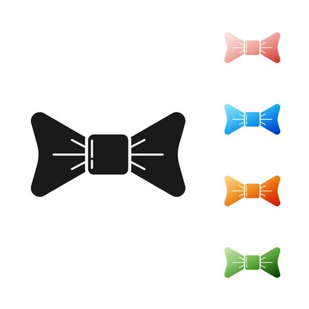 Black Bow tie icon isolated on white background. Set icons colorful. Vector Illustration