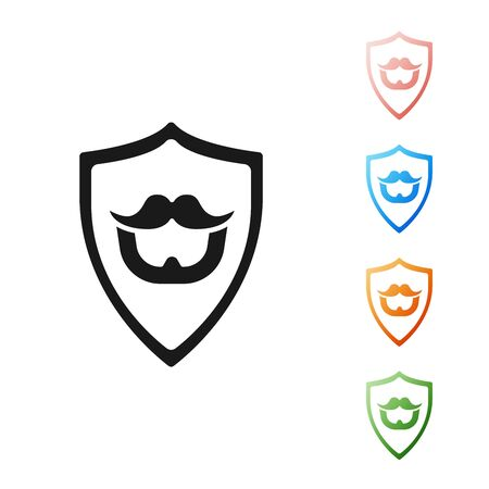 Black Mustache and beard on shield icon isolated on white background. Barbershop symbol. Facial hair style. Set icons colorful. Vector Illustration