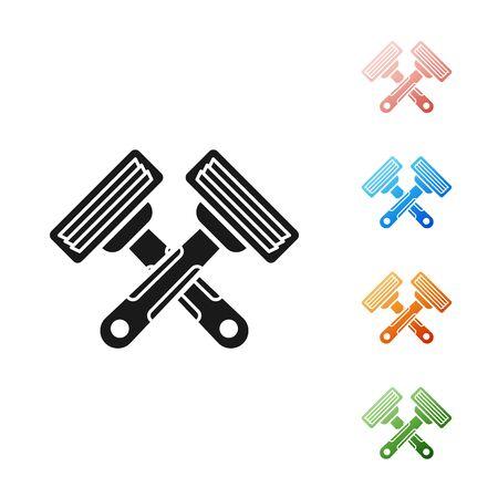 Black Crossed shaving razor icon isolated on white background. Set icons colorful. Vector Illustration