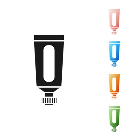 Black Cream or lotion cosmetic tube icon isolated on white background. Body care products for men. Set icons colorful. Vector Illustration Çizim