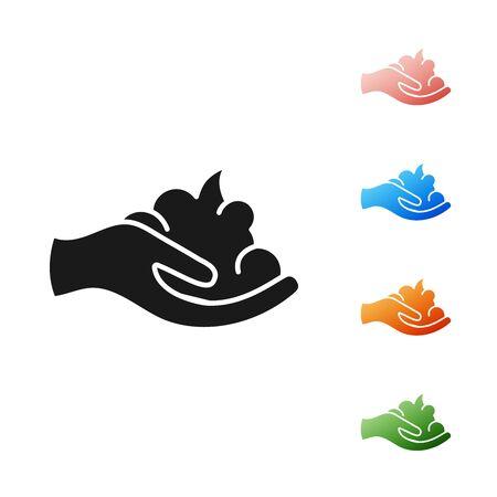 Black Shaving gel foam on hand icon isolated on white background. Shaving cream. Set icons colorful. Vector Illustration Çizim