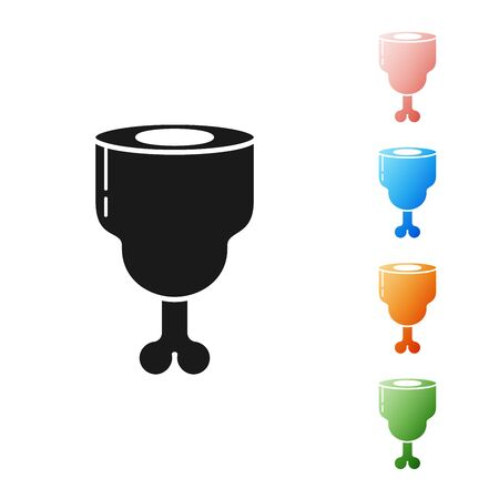 Black Chicken leg icon isolated on white background. Chicken drumstick. Set icons colorful. Vector Illustration Illusztráció