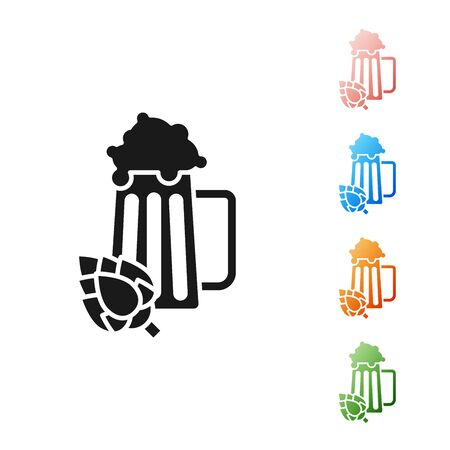 Black Glass of beer and hop icon isolated on white background. Set icons colorful. Vector Illustration