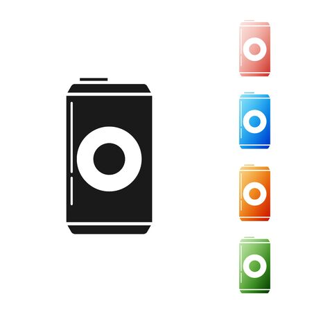 Black Beer can icon isolated on white background. Set icons colorful. Vector Illustration