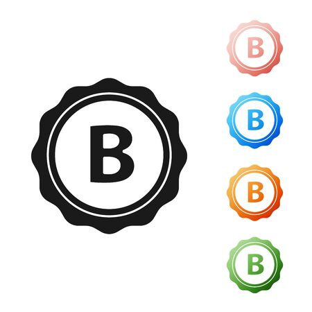 Black Bottle cap with inscription beer icon isolated on white background. Set icons colorful. Vector Illustration