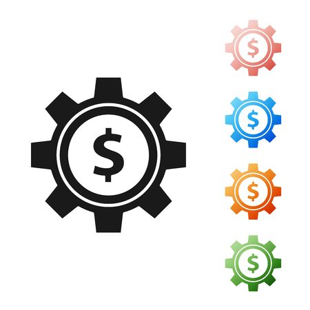 Black Gear with dollar symbol icon isolated on white background. Business and finance conceptual icon. Set icons colorful. Vector Illustration