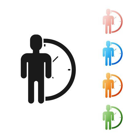 Black Time Management icon isolated on white background. Clock and gear sign. Productivity symbol. Set icons colorful. Vector Illustration