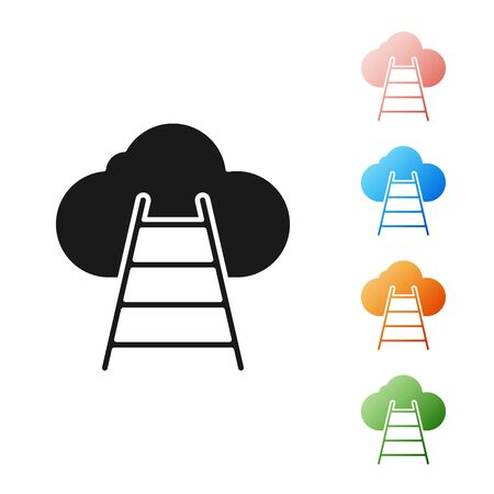 Black Ladder leading to cloud icon isolated on white background. Stairs leading to the cloud. Set icons colorful. Vector Illustration