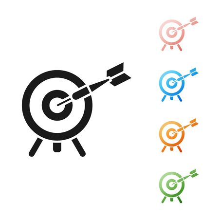 Black Target with arrow icon isolated on white background. Dart board sign. Archery board icon. Dartboard sign. Business goal concept. Set icons colorful. Vector Illustration