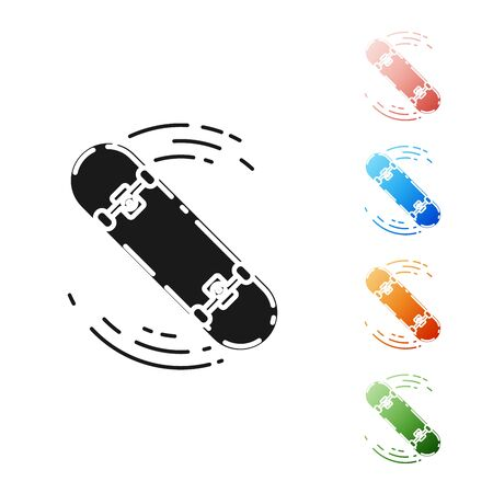 Black Skateboard trick icon isolated on white background. Extreme sport. Sport equipment. Set icons colorful. Vector Illustration