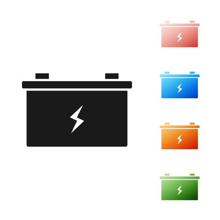 Black Car battery icon isolated on white background. Accumulator battery energy power and electricity accumulator battery. Set icons colorful. Vector Illustration Foto de archivo - 131382064