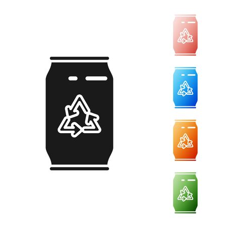 Black Can with recycle symbol and can icon isolated on white background. Trash can icon. Garbage bin sign. Recycle basket sign. Set icons colorful. Vector Illustration