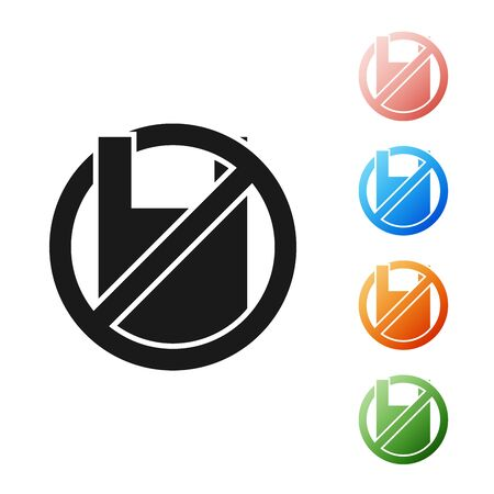 Black Say no to plastic bags poster icon isolated on white background. Disposable cellophane and polythene package prohibition sign. Set icons colorful. Vector Illustration Çizim