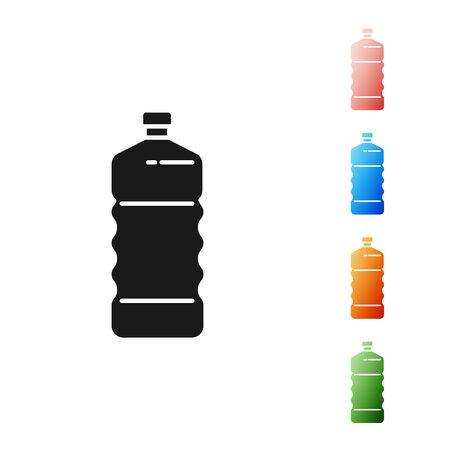 Black Plastic bottle icon isolated on white background. Set icons colorful. Vector Illustration Illusztráció