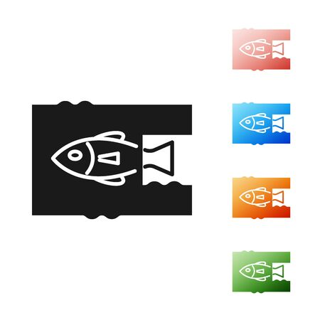 Black Stop ocean plastic pollution icon isolated on white background. Environment protection concept. Fish say no to plastic. Set icons colorful. Vector Illustration Çizim