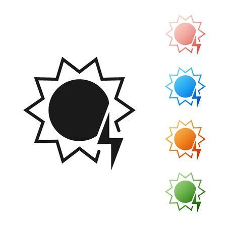 Black Solar energy panel icon isolated on white background. Sun with lightning symbol. Set icons colorful. Vector Illustration