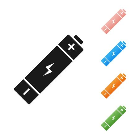Black Battery icon isolated on white background. Lightning bolt symbol. Set icons colorful. Vector Illustration Banque d'images - 131381878