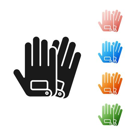 Black Gloves icon isolated on white background. Extreme sport. Sport equipment. Set icons colorful. Vector Illustration