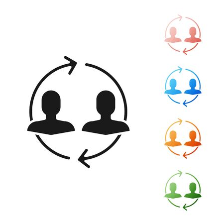Black Human resources icon isolated on white background. Concept of human resources management, professional staff research, head hunter job. Set icons colorful. Vector Illustration