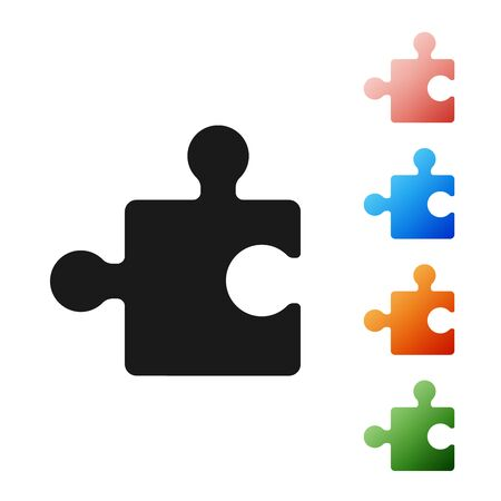 Black Piece of puzzle icon isolated on white background. Modern flat, business, marketing, finance, internet concept. Set icons colorful. Vector Illustration