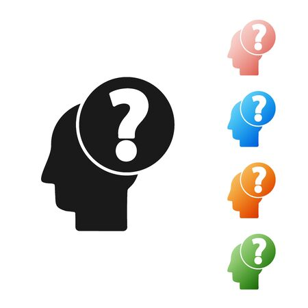 Black Human head with question mark icon isolated on white background. Set icons colorful. Vector Illustration