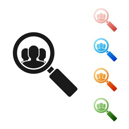 Black Magnifying glass for search a people icon isolated on white background. Recruitment or selection concept. Search for employees and job. Set icons colorful. Vector Illustration