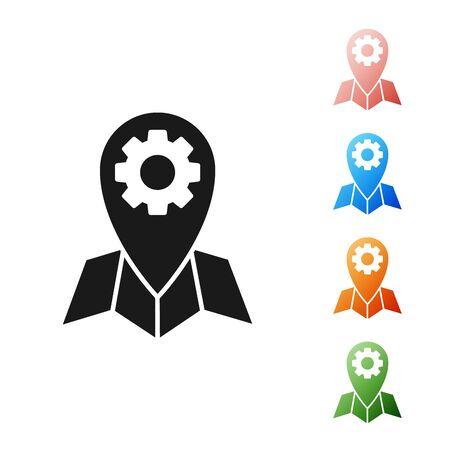 Black Location job icon isolated on white background. Set icons colorful. Vector Illustration