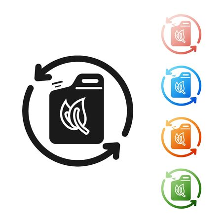 Black Bio fuel canister icon isolated on white background. Eco bio and barrel. Green environment and recycle. Set icons colorful. Vector Illustration