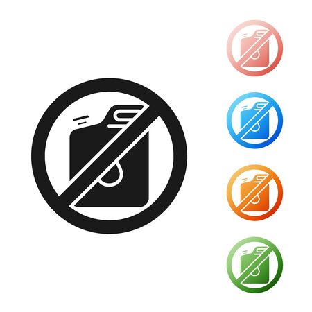 Black No canister for gasoline icon isolated on white background. Diesel gas icon. Set icons colorful. Vector Illustration Foto de archivo - 131382092