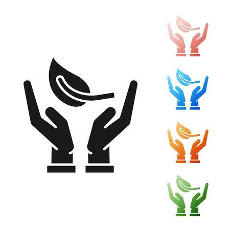 Black Sprout in hand of environmental protection icon isolated on white background. Seed and seedling. Planting sapling. Ecology concept. Set icons colorful. Vector Illustration
