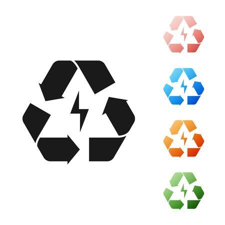 Batería negra con icono de línea de símbolo de reciclaje aislado sobre fondo blanco. Batería con símbolo de reciclaje - concepto de energía renovable. Establecer iconos de colores. Ilustración vectorial