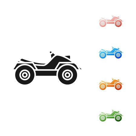 Black All Terrain Vehicle or ATV motorcycle icon isolated on white background. Quad bike. Extreme sport. Set icons colorful. Vector Illustration Illustration