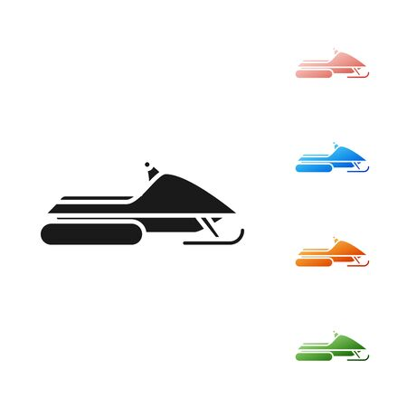 Black Snowmobile icon isolated on white background. Snowmobiling sign. Extreme sport. Set icons colorful. Vector Illustration
