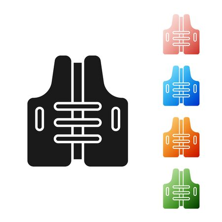 Black Life jacket icon isolated on white background. Life vest icon. Extreme sport. Sport equipment. Set icons colorful. Vector Illustration Illusztráció