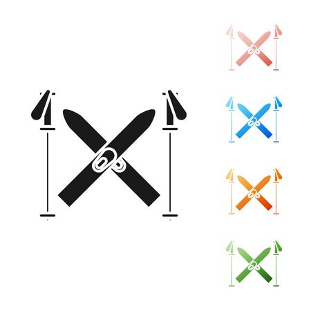 Black Ski and sticks icon isolated on white background. Extreme sport. Skiing equipment. Winter sports icon. Set icons colorful. Vector Illustration Illusztráció