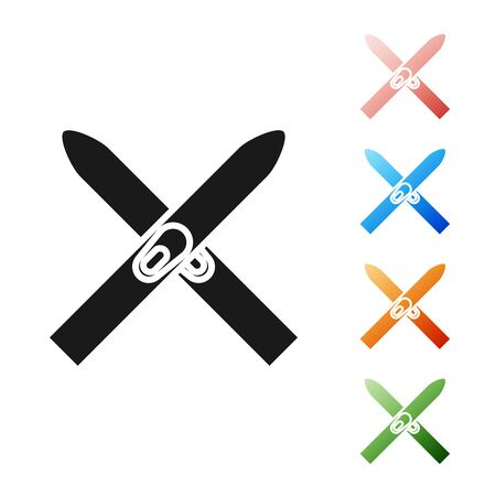 Black Ski and sticks icon isolated on white background. Extreme sport. Skiing equipment. Winter sports icon. Set icons colorful. Vector Illustration Illustration