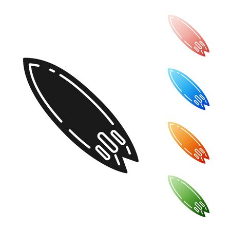 Black Surfboard icon isolated on white background. Surfing board. Extreme sport. Sport equipment. Set icons colorful. Vector Illustration