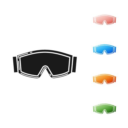 Black Ski goggles icon isolated on white background. Extreme sport. Sport equipment. Set icons colorful. Vector Illustration Illusztráció