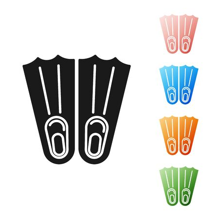 Black Rubber flippers for swimming icon isolated on white background. Diving equipment. Extreme sport. Sport equipment. Set icons colorful. Vector Illustration Illustration