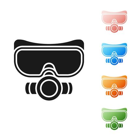 Black Diving mask icon isolated on white background. Extreme sport. Sport equipment. Set icons colorful. Vector Illustration Illustration