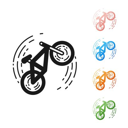 Black Bicycle trick icon isolated on white background. Bike race. Extreme sport. Sport equipment. Set icons colorful. Vector Illustration