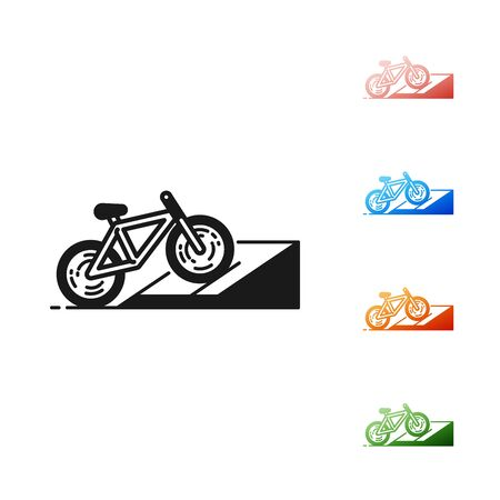 Black Bicycle on street ramp icon isolated on white background. Skate park. Extreme sport. Sport equipment. Set icons colorful. Vector Illustration