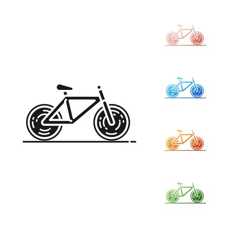 Black Bicycle icon isolated on white background. Bike race. Extreme sport. Sport equipment. Set icons colorful. Vector Illustration