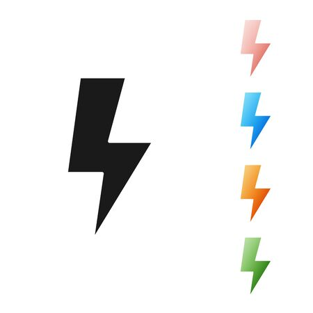 Black Lightning bolt icon isolated on white background. Flash sign. Charge flash icon. Thunder bolt. Lighting strike. Set icons colorful. Vector Illustration Illustration