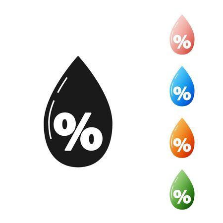 Black Water drop percentage icon isolated on white background. Humidity analysis. Set icons colorful. Vector Illustration Illusztráció